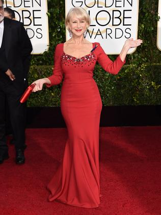 Screen icon ... Helen Mirren dazzles in red. Picture: AP