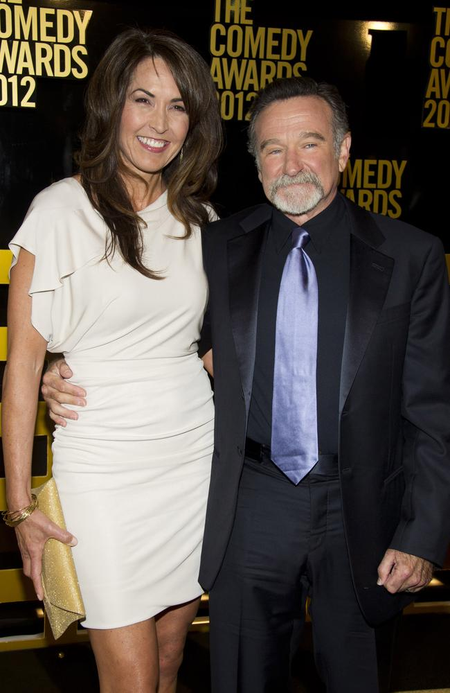 Robin Williams and wife Susan Schneider. Picture: AP
