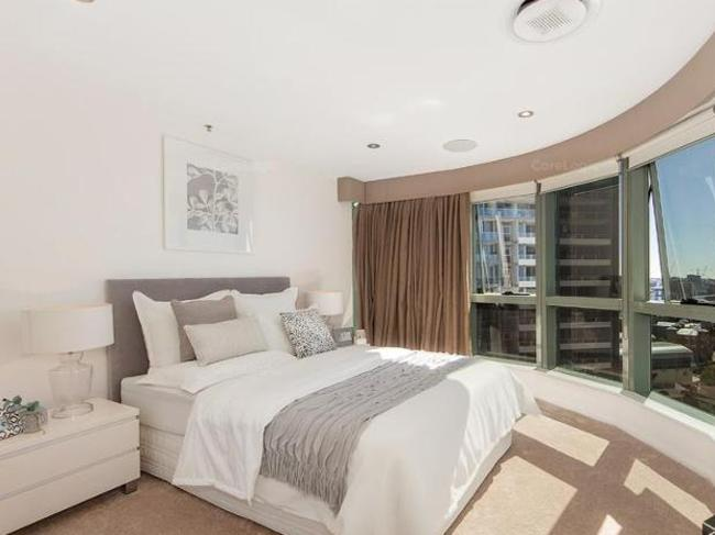 One of the bedrooms at 149/35 Howard St, Brisbane. Picture: CoreLogic
