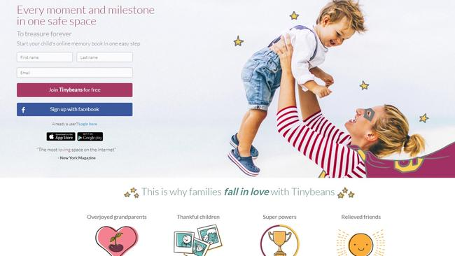 Tinybeans is marketed as a 'safer way' for parents to share photos with family.