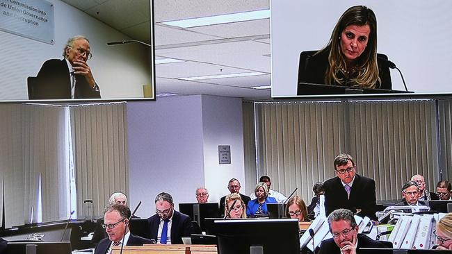 The courtroom scene taken from the TV screen in the media room as Kathy Jackson is questioned by HSU barrister Mark Irving (standing). Picture: Screengrab
