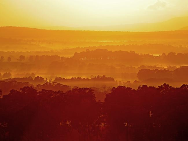Morning sun rises over Pokolbin in the NSW Hunter Valley during a balloon ride with Balloon Aloft. Picture: Troy Snook