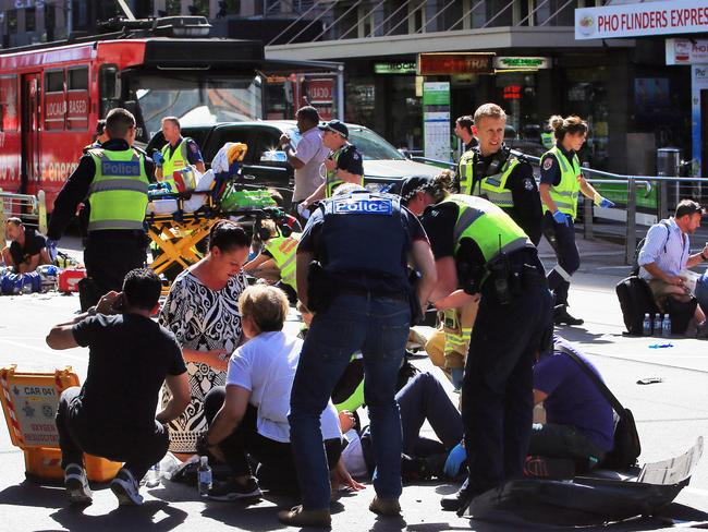 A four year old child is believed to be among those injured. Picture: Aaron Francis/The Australian
