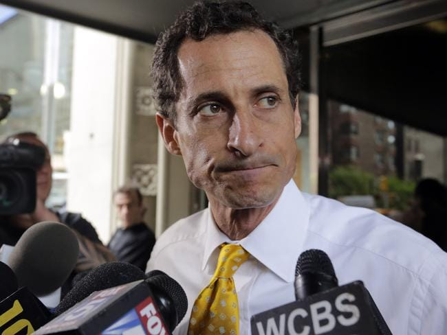 Guilty ... again. Former congressman and New York City mayoral candidate Anthony Weiner acknowledges sending explicit messages for a second time. Pic: AP.
