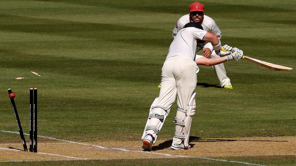 Bushranger Marcus Harris is bowled by Chadd Sayers Picture Simon Cross