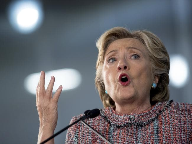 Clinton speaks at a rally at Miami Dade College in Miami yesterday. Picture: Andrew Harnik/AP