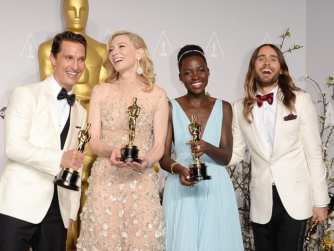 Winners are grinners ... Actors Matthew McConaughey winner of Best Performance by an Actor in a Leading Role, Cate Blanchett winner of Best Performance by an Actress in a Leading Role, Lupita Nyong'o winner of Best Performance by an Actress in a Supporting Role and Jared Leto winner of Best Performance by an Actor in a Supporting Role. Picture: Jason Merritt/Getty Images