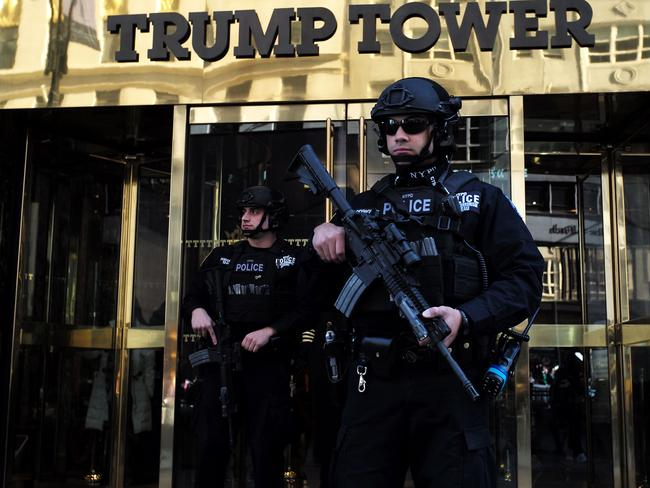 The entrance to Trump Tower looks a lot different since Donald Trump became president. Picture: AFP
