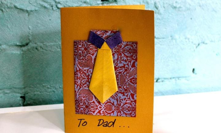 "If you like to get a bit corporate with it and you have a child who likes a challenge, this shirt and tie origami is a a little fancier and says, ""We care enough to do origami"".  <a href=""http://www.kidspot.com.au/things-to-do/activities/fathers-day-make-a-shirt-and-tie-card"">See here for how to make a shirt and tie origami card.</a>"