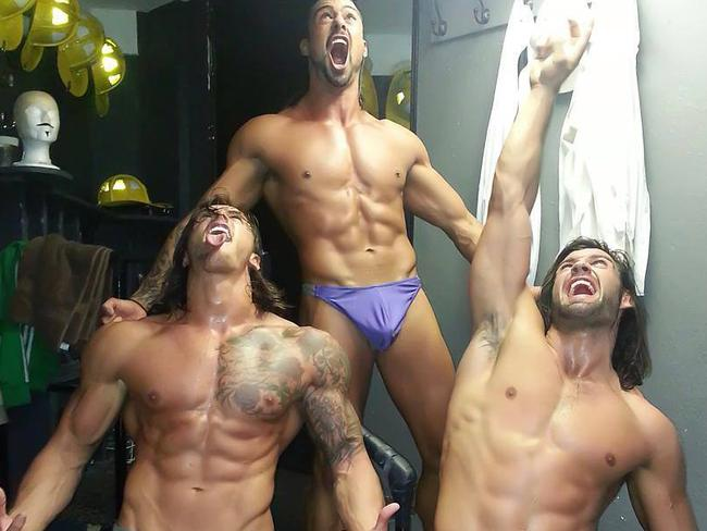 Backstage ... the Thunder From Down Under male stripper group. Picture: Facebook