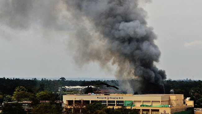 Smoke rises from the Westgate mall in Nairobi.
