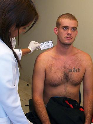 Killer ... Dutch Joran van der Sloot, 22, undergoing a medical exam upon his entrance to Peru in 2010. Picture: AFP