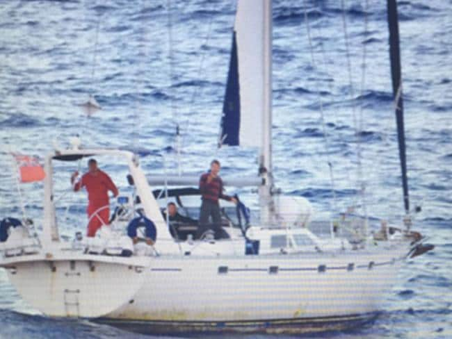 Officers from the French Navy's frigate Vendemiaire arrested the four crew members. Picture: The Australian Criminal Intelligence Commission