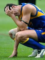 Cox breaks down at the end of grand final West Coast Eagles in 2005.