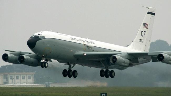 The adapted WC-135 sniffer plane sucks in gases through scoops ion its side for on board crew to analyse.