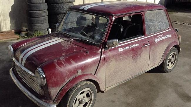 The might Mini, about to get a much needed wash in Mongolia.