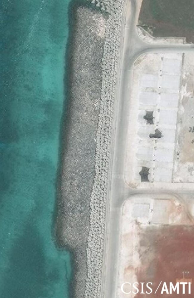Military jamming equipment deployed on Mischief Reef in April. By early May, they were still present. Source: CSIS/AMTI