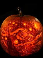 "<p>Maniac Pumpkin Carvers show their interpretation of ""Starry Night,"" by Vincent van Gogh, which was gifted to the Museum of Modern Art in New York City. For at least three months each Fall, pumpkin carvers Marc Evan and Chris Soria, of New York City, relinquish their illustrator occupations to carve fantastical pumpkins full-time to become the Maniac Pumpkin Carvers. Picture: AP Photo/Maniac Pumpkin Carvers, Marc Evan)</p>"
