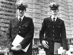 Constables Michael Holden and Geoff Peck outside the Flemington Housing Estate in 1981. Picture: HWT library