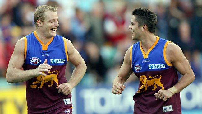 Brisbane teammates Michael Voss and Simon Black in 2006. Picture: David Kapernick