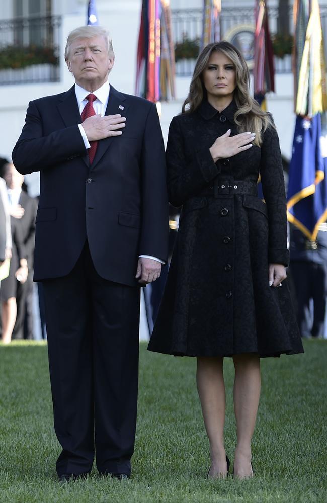 US President Donald Trump and First Lady Melania Trump observe a moment of silence on September 11, 2017. Picture: AFP