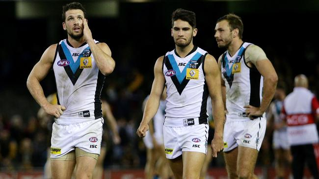Power stars Travis Boak and Chad Wingard react to the loss to Richmond. Picture: Colleen Petch