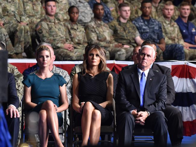 Ivanka Trump, US First Lady Melania Trump and US Vice President Mike Pence listen to US President Donald Trump addressing the nation. Picture: AFP