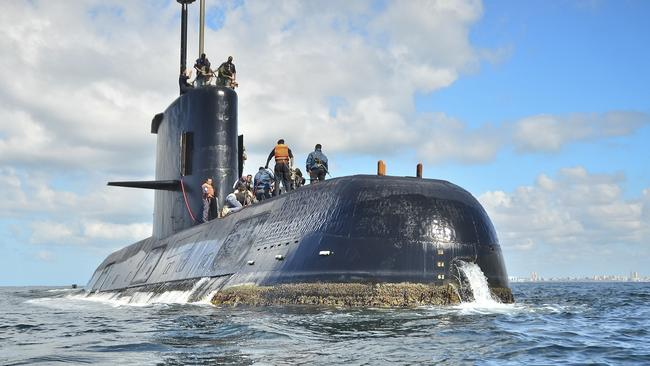 Argentina's Navy lost contact with the German-built diesel-electric sub on Wednesday morning local time. Picture: Argentina Navy/AP.