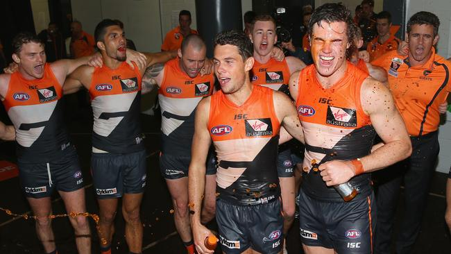 Josh Kelly and Lachie Plowman are the centre of attention after a GWS win.