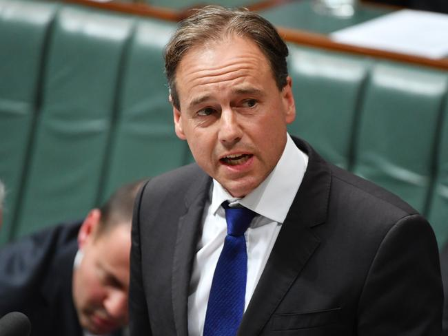 Minister for Health Greg Hunt during Question Time in the House of Representatives at Parliament House in Canberra, Monday, Feb. 13, 2017. (AAP Image/Mick Tsikas) NO ARCHIVING