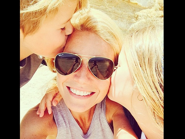 "American actrress Gwyneth Paltrow with children Moses and Apple, ""Feelin' the love today #luckymama"" Picture: Instagram"