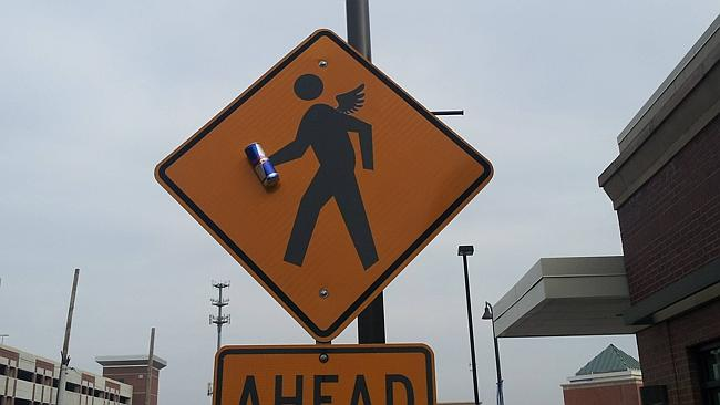 Red Bull's commitment to giving you wings even applies to two-dimensional road-sign characters.