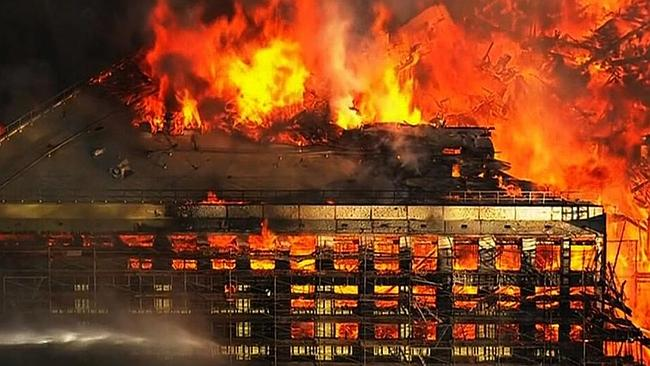 The massive blaze broke out at a building under construction in San Francisco's Mission B