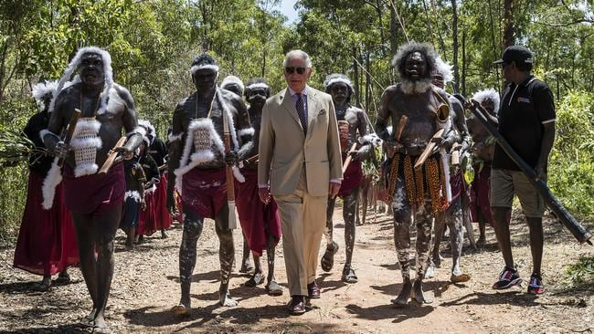 Prince Charles, the Prince of Wales, arrives for a Welcome to Country Ceremony at Mt Nhulun in Gove, Arnhem Land, Australia, Monday, April 9, 2018. Picture: AAP /Getty Images / Brook Mitchell.