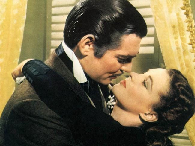 Actors Clark Gable and Vivien Leigh in 1939 film Gone with the Wind.