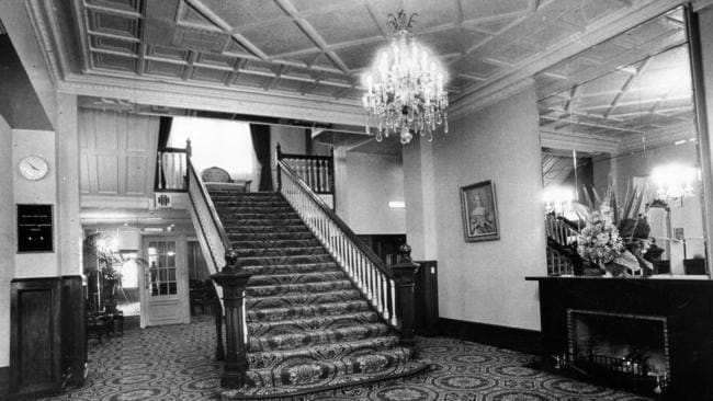 The grand staircase in the hotel's foyer in 1971.
