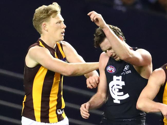 Jed Lamb (right) got under James Sicily's skin. (Photo by Scott Barbour/Getty Images)
