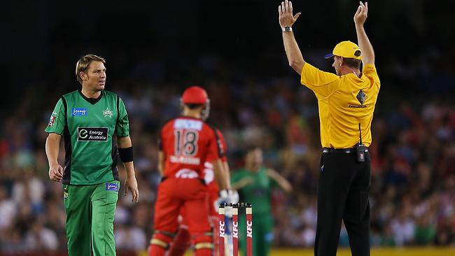Shane Warne of The Stars reacts after being hit for six by Aaron Finch of The Renegades during the Big Bash League match at Etihad Stadium. Picture: Getty Images