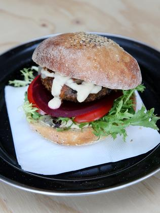 A mouth-watering veggie burger.