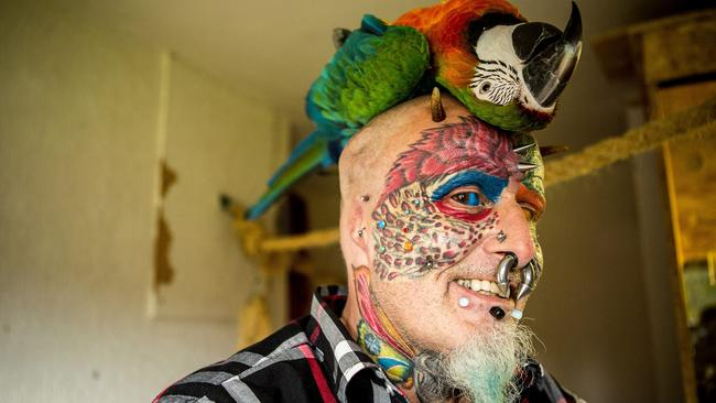 Ted Richards from Bristol, UK, has had multiple body modifications including eye tattooing.