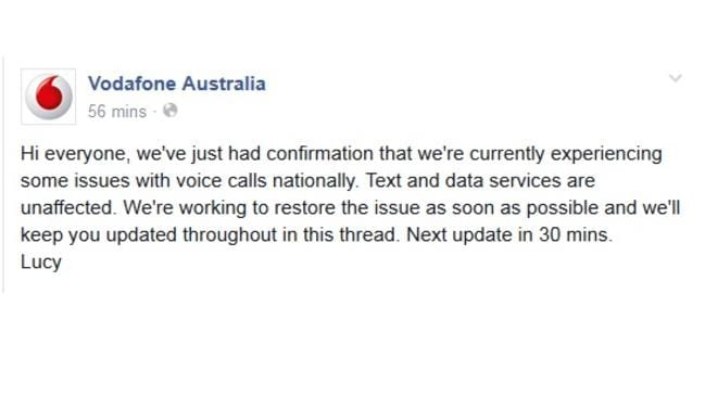 Vodafone are keeping customers updated via their Facebook page.