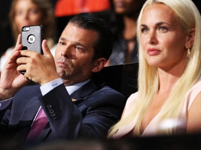 Don Trump Jr with Vanessa in happier times. The couple is in the process of divorcing. Picture: Supplied