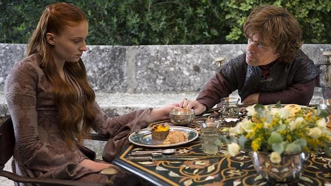 Tyrion being a nice guy, as usual, and Sansa being depressed, as usual. (Game of Thrones Season 4 is coming April 7 to Showca...