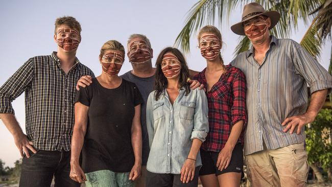 Comedian Tom Ballard, actor Nicki Wendt, TV personality Ian 'Dicko' Dickson, singer Natalie Imbruglia, former Miss Universe Renae Ayris and ex-One Nation politician David Oldfield on location in East Arnhem land. Picture: David Dare Parker