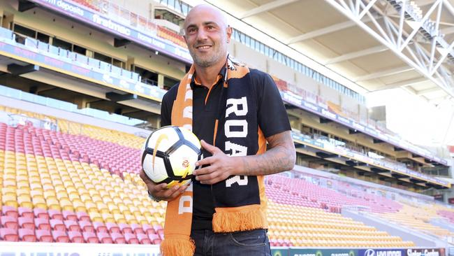 New Brisbane Roar Striker Massimo Maccarone poses for a photograph at Suncorp Stadium, Brisbane, Monday, July 24, 2017. The Roar have signed veteran Italian striker Massimo Maccarone as their second marquee player. (AAP Image/Glenn Hunt) NO ARCHIVING