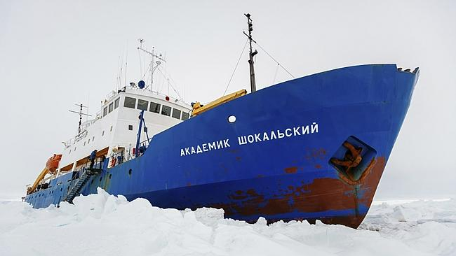 The Russian ship MV Akademik Shokalskiy became trapped in thick Antarctic ice 1,500 nautical miles south of Hobart, on Christmas Eve. Picture: /Australasian Antarctic Expedition/Footloose Fotography, Andrew Peacock