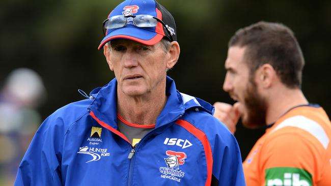 Shedding Wayne Bennett's salary from the budget will help the Knights tighten the purse strings. Pic: Peter Lorimer.