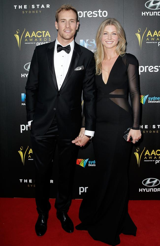 Joel Jackson and partner arrive ahead of the 5th AACTA Awards Presented by Presto at The Star on December 9, 2015 in Sydney, Australia. Picture: Getty