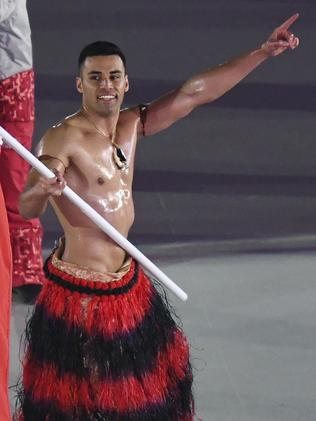 Pita Taufatofua is back ... and shirtless ... for the Winter Olympics. Picture: AP