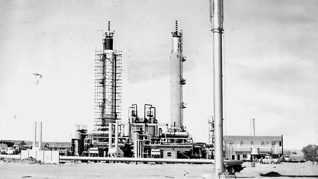 Natural gas flares from the stack at the Santos-Delhi CO2 treatment plant on the Moomba gas fields in 1970.